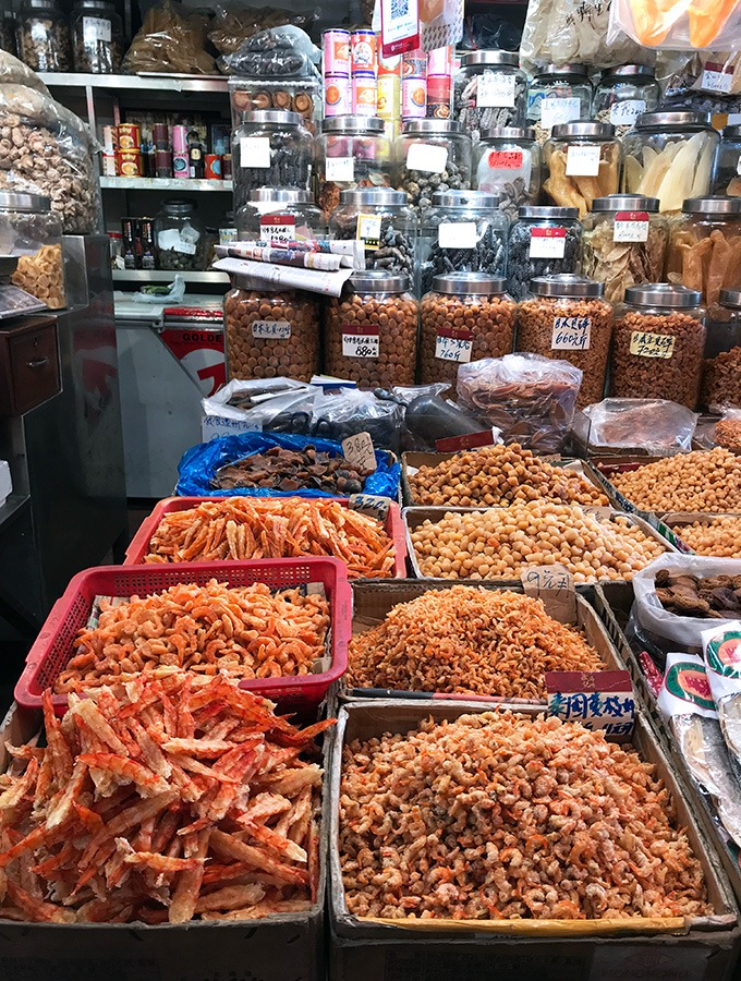 dried shrimp and crab with dried pulses at the red market macao