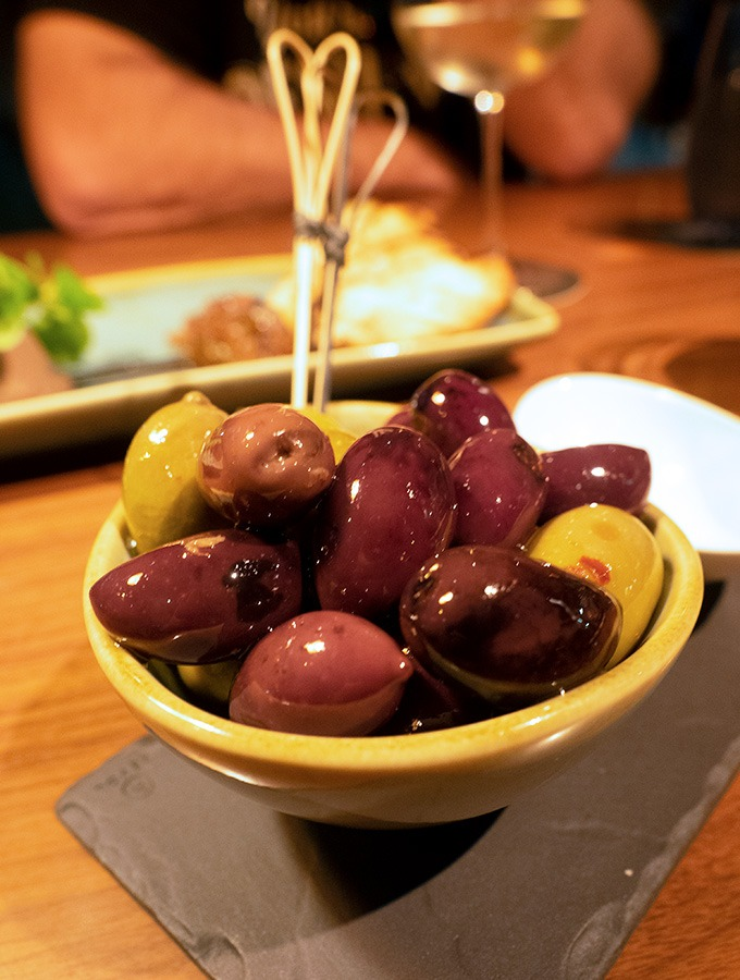 mixed olives in a small bowl