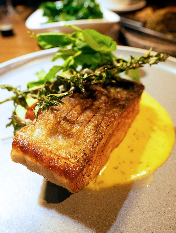a piece of salmon with crispy skin sitting on hollandaise sauce with greens on top