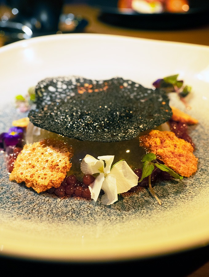 watermelon jelly on a plate surrounded by flowers, honeycomb and topped with a charcoal tuile