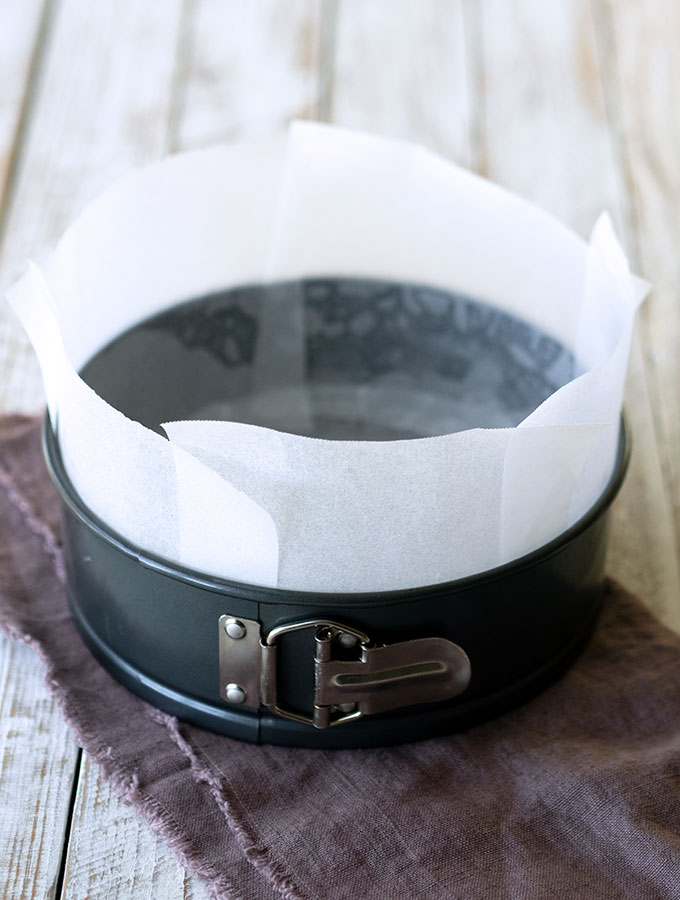 21cm springform cake tin lined with baking paper