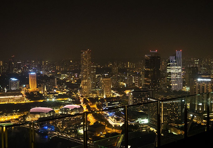 view of singapore from 57th floor of marina bay sands
