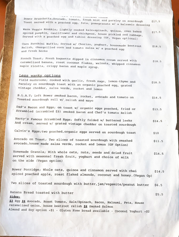 menu at left bower in sutherland