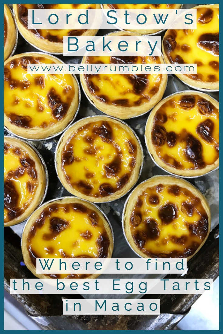 Macanese egg tarts on a baking tray with text overlay