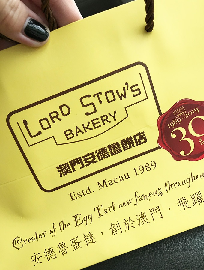 lord stow's yellow paper bag with tarts inside