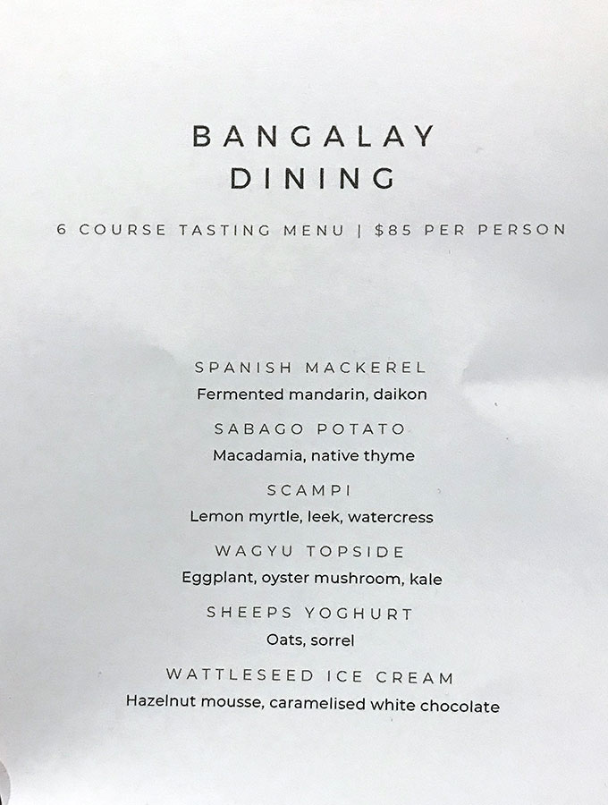 bangalay dining six course tasting menu