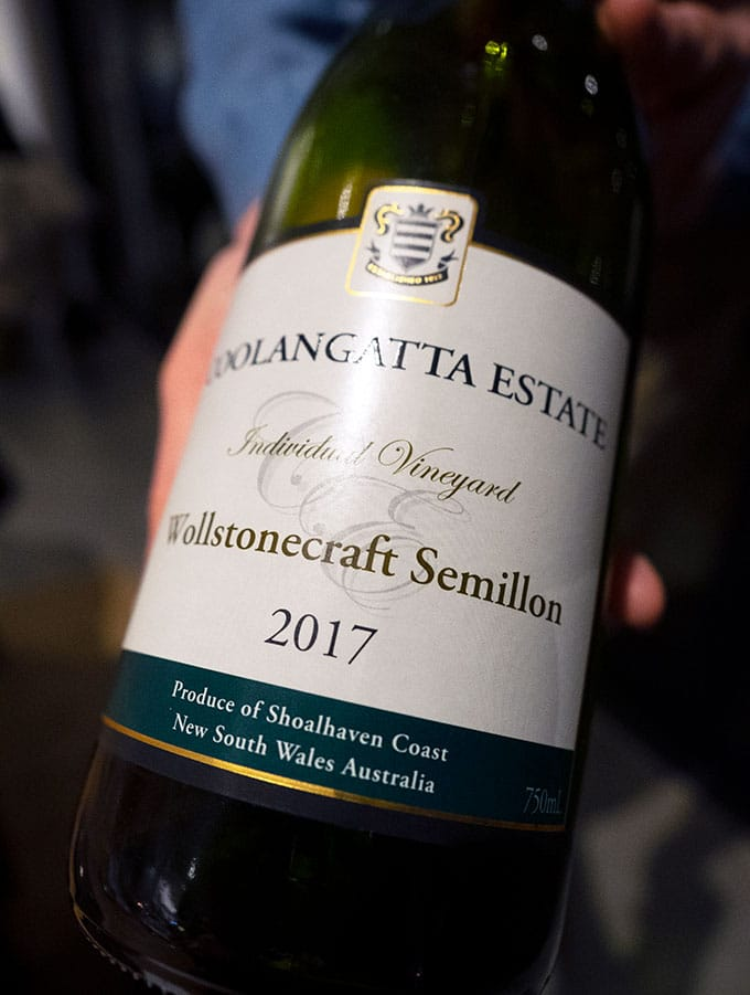 bottle of coolangatta estate semillon at bangalay dining