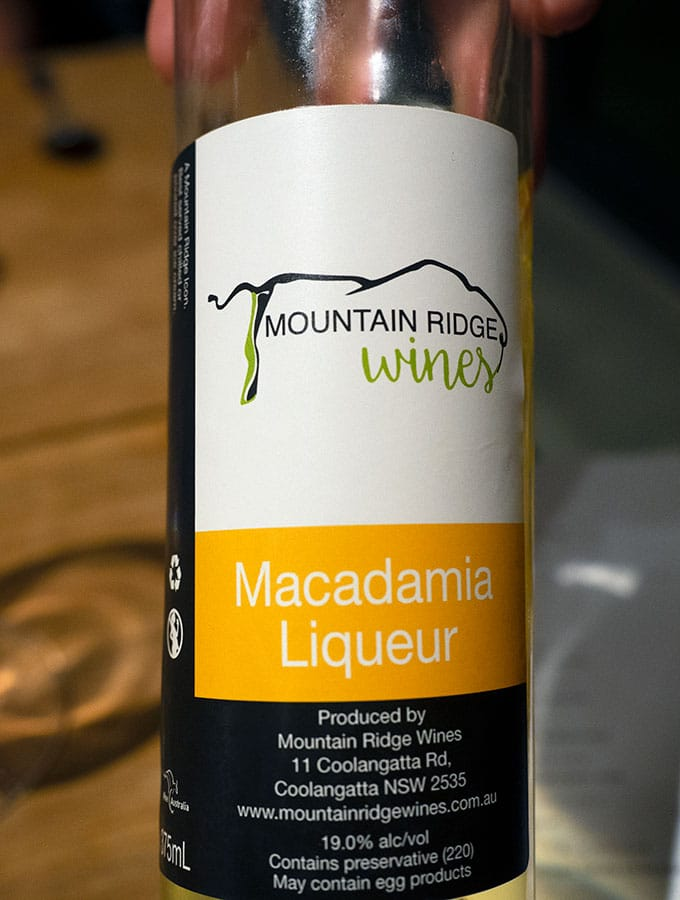 bottle of macadamia liqueur from mountain ridge at bangalay dinining