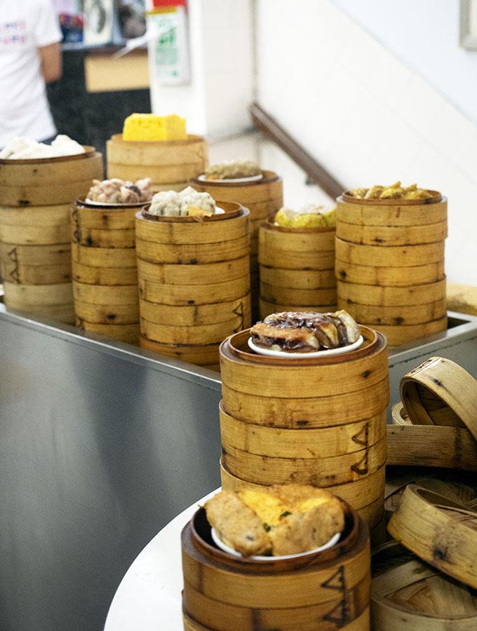 Long Va Tea House in Macao - various dim sum baskets