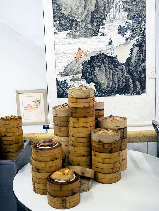 Long Va Tea House in Macao - dim sum baskets stacked on a table