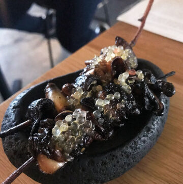 paperbark restaurant signature shitake mushrooms on a skewer with finger lime