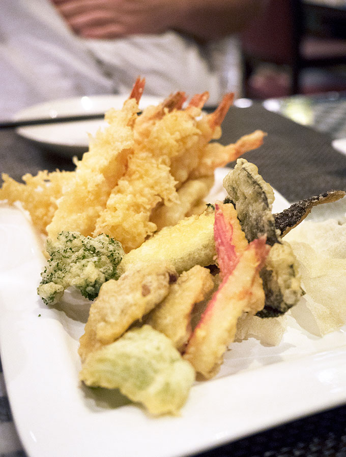 tempura prawns and vegetables on a plate