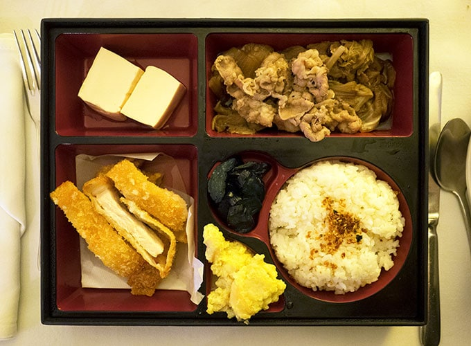 bento box with katsu rice and tofu