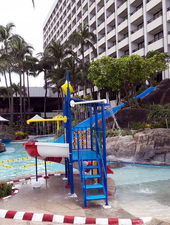 slippery dip by the pool at Sofitel Philippine Plaza Manila