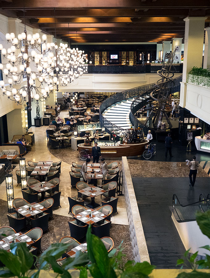 spiral dining room view from level above at Sofitel Philippine Plaza Manila