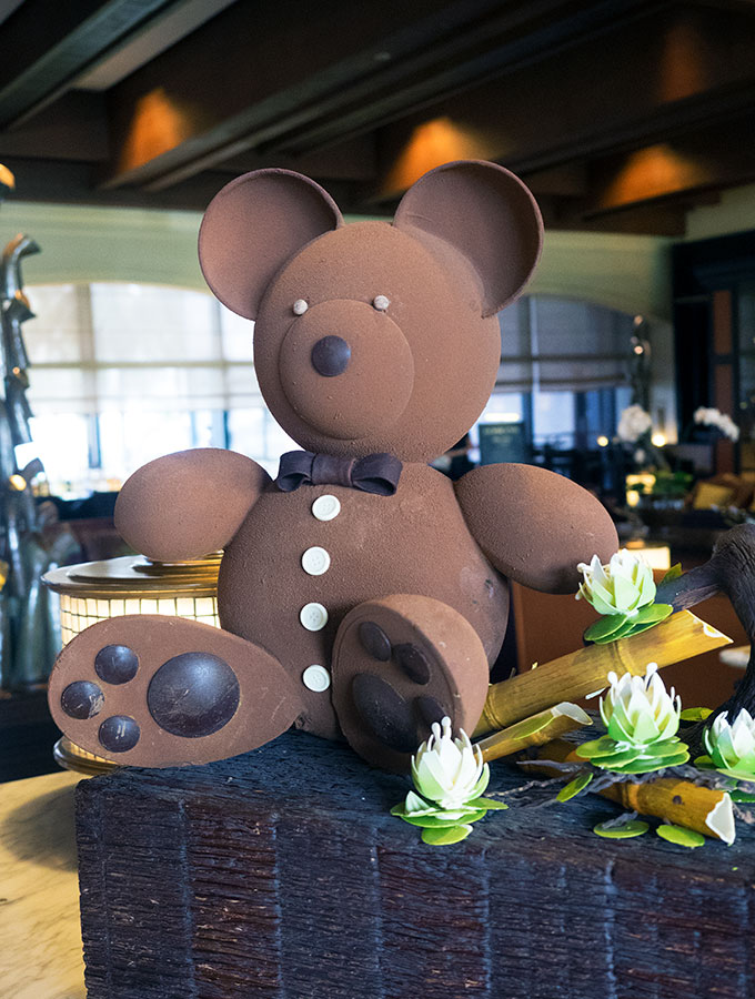 giant chocolate teddy bear and chocolate flowers