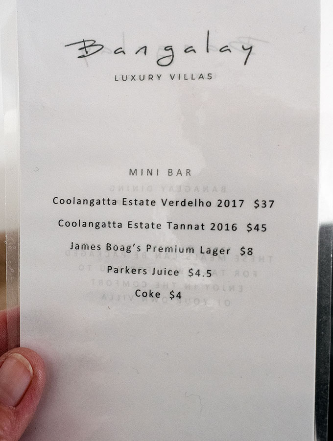 mini bar menu