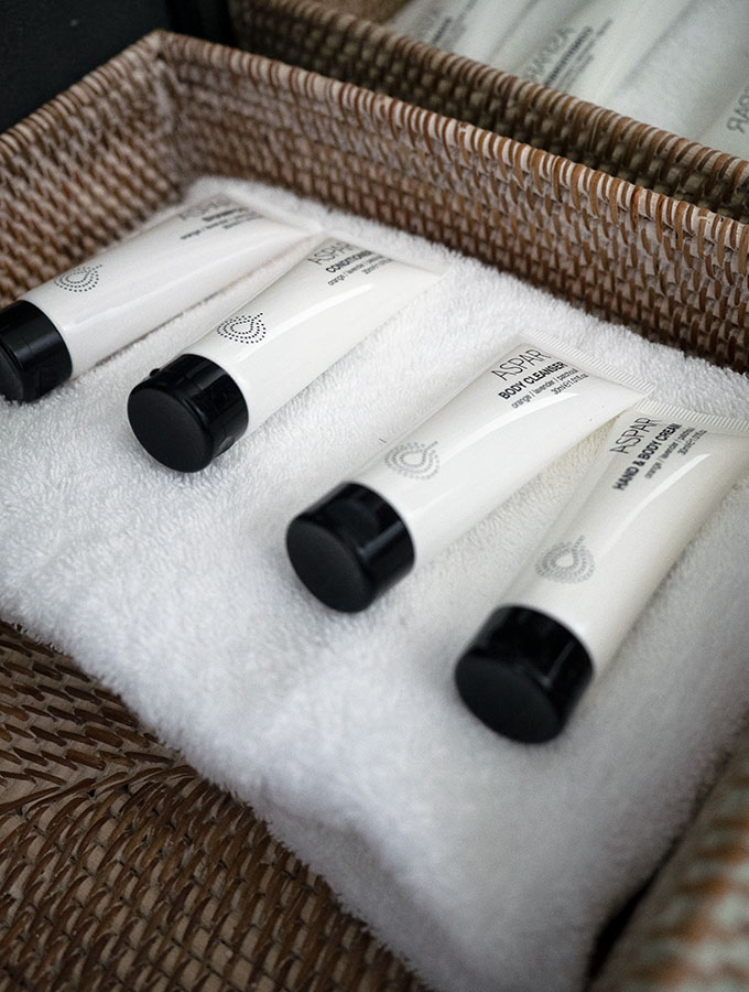 bathroom amenities on a face cloth