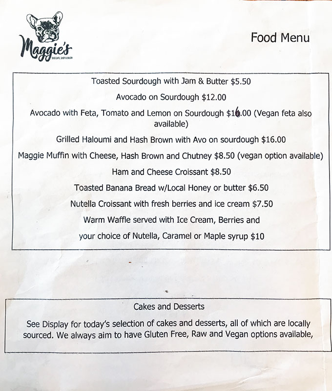 photo of menu