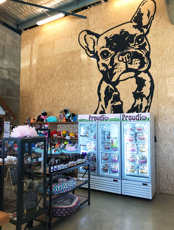 large drawing of a pug dog on the wall and items in the shop