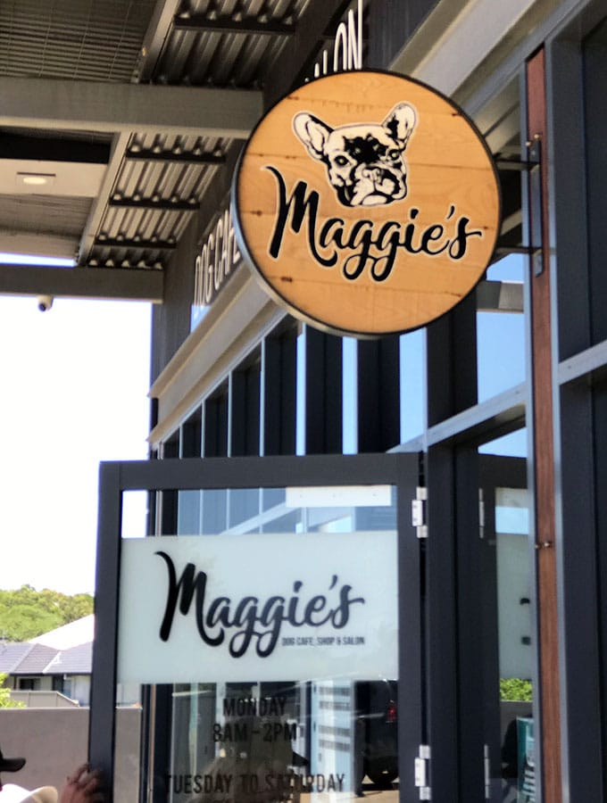 maggies dog cafe sign and entrance door