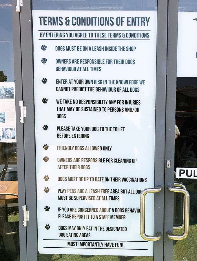 door to maggies dog cafe showing the rules of entry