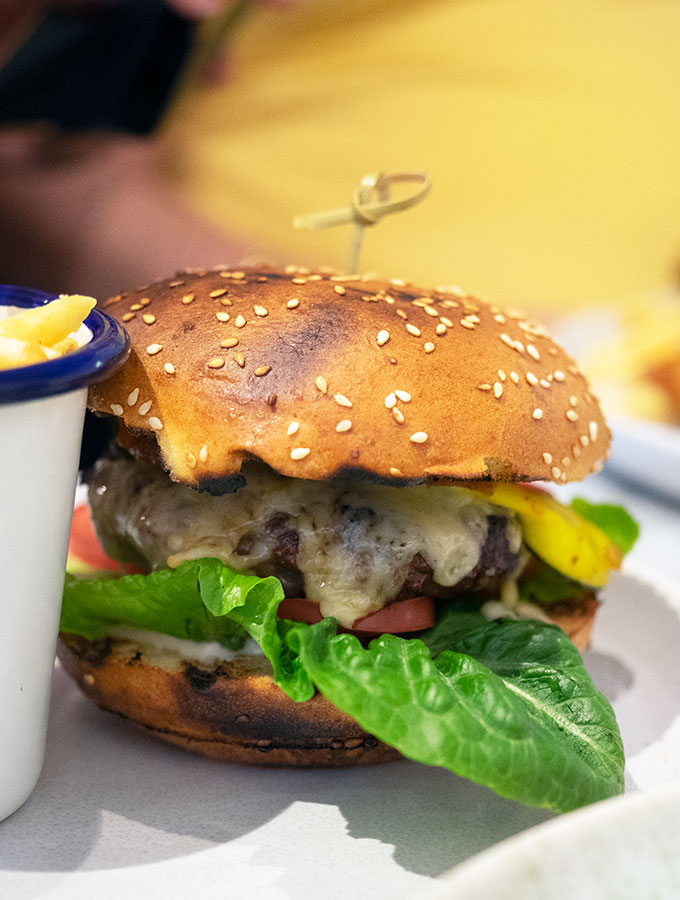 beef burger with cheese and lettuce