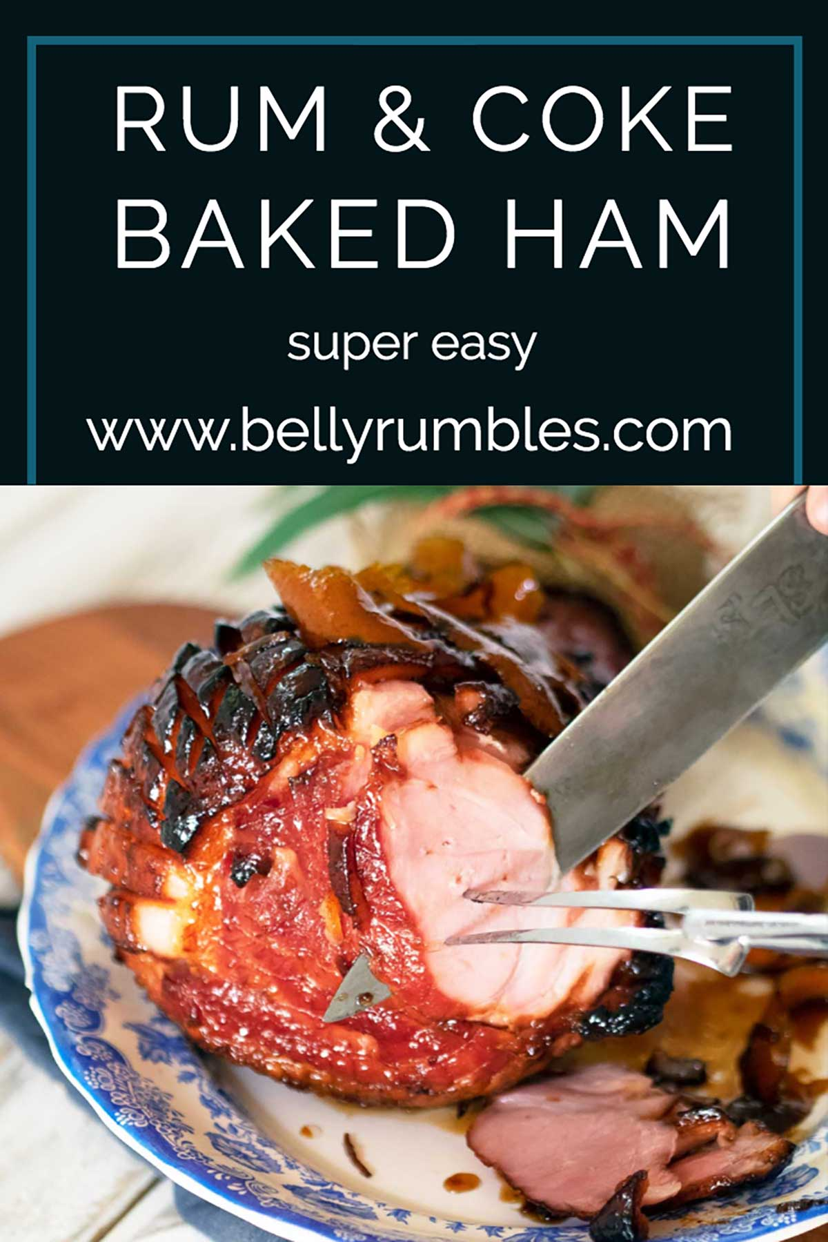 pinterest pin for rum and coca cola glazed ham