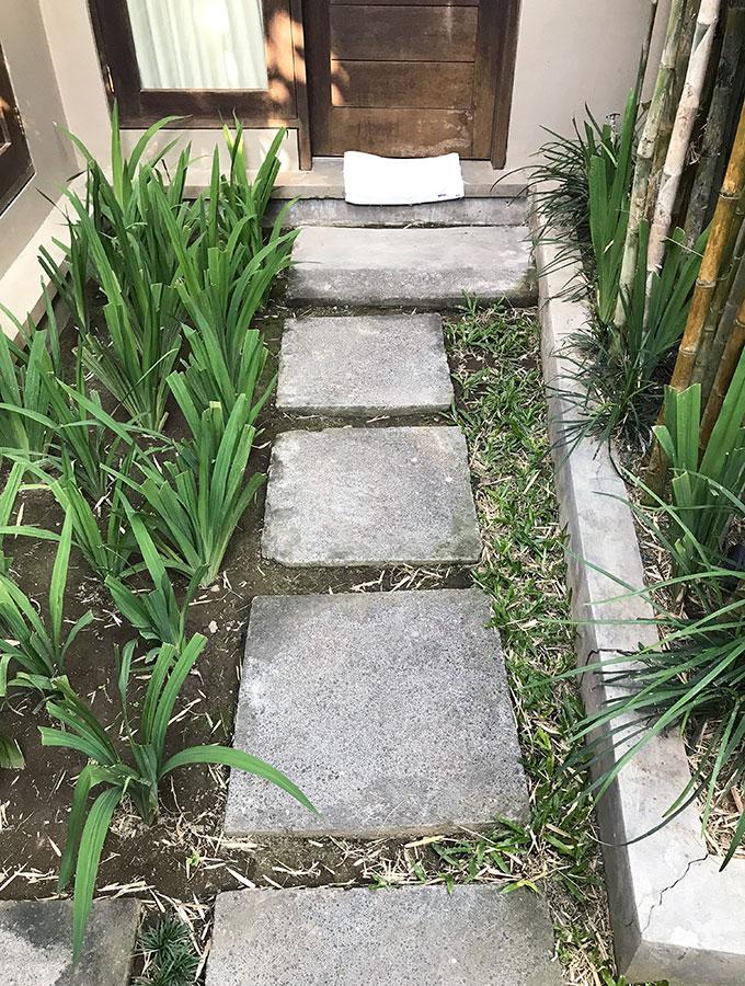 flagstone steps to main bedroom door