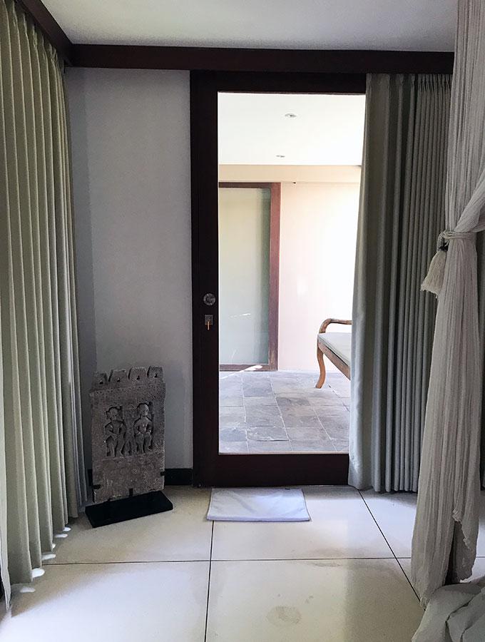 bedroom showing door to outside
