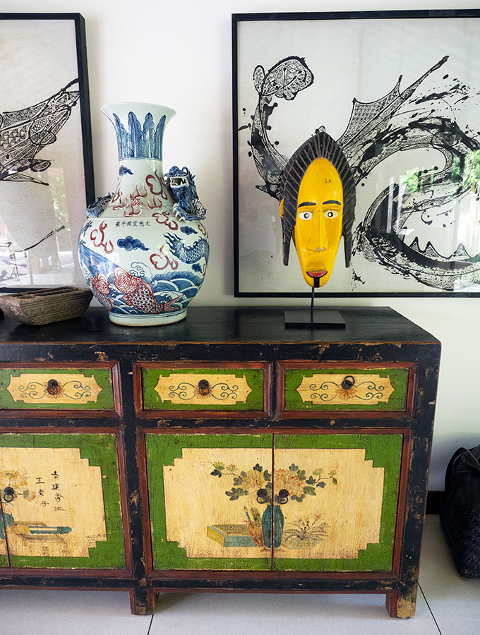 cabinet and art work