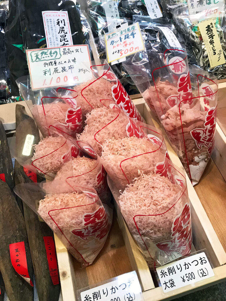 see through plastic bags filled with shaved dried bonito for sale