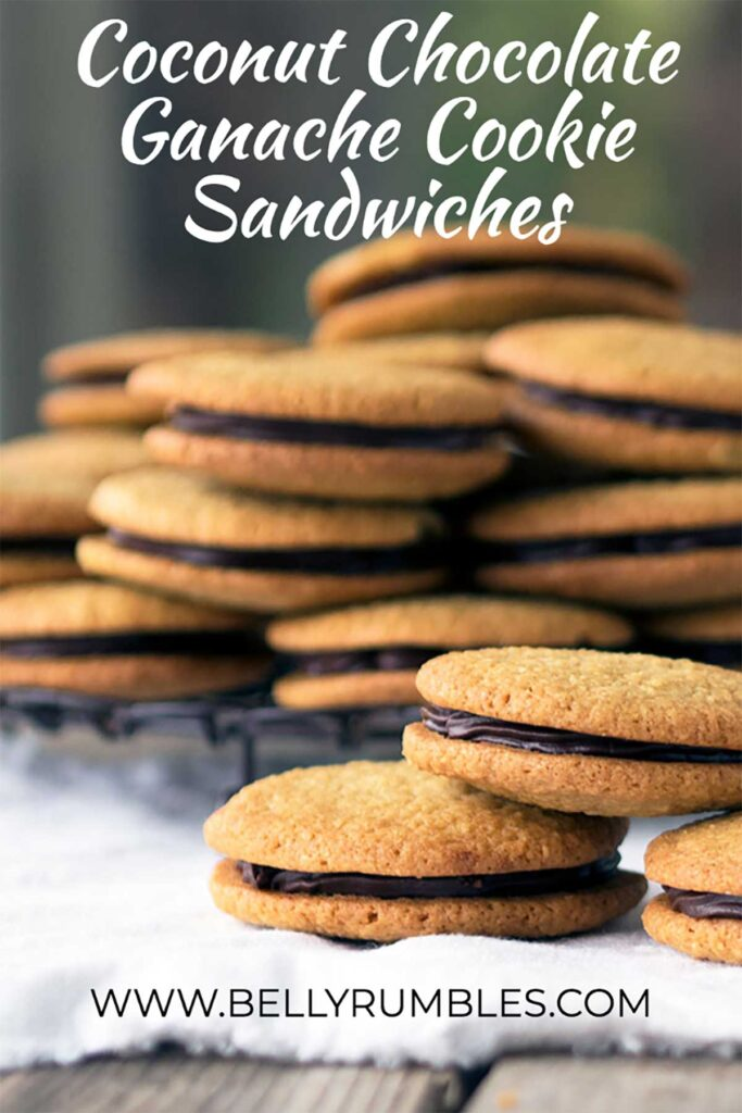 a pile of coconut chocolate cookie sandwiches