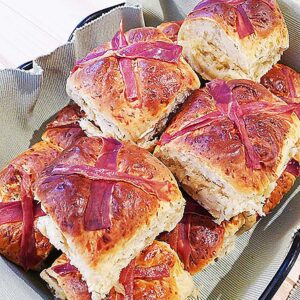 ester buns, savoury hot cross buns in a basket