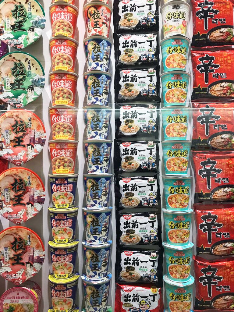 a wall of ramen packets