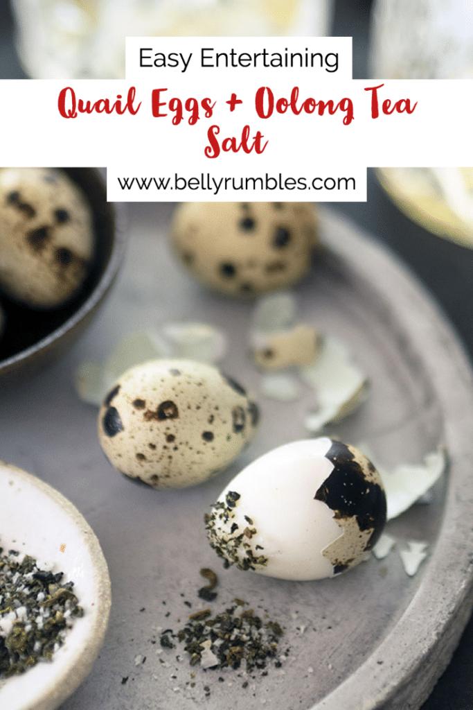 quail eggs on a platter with oolong tea salt