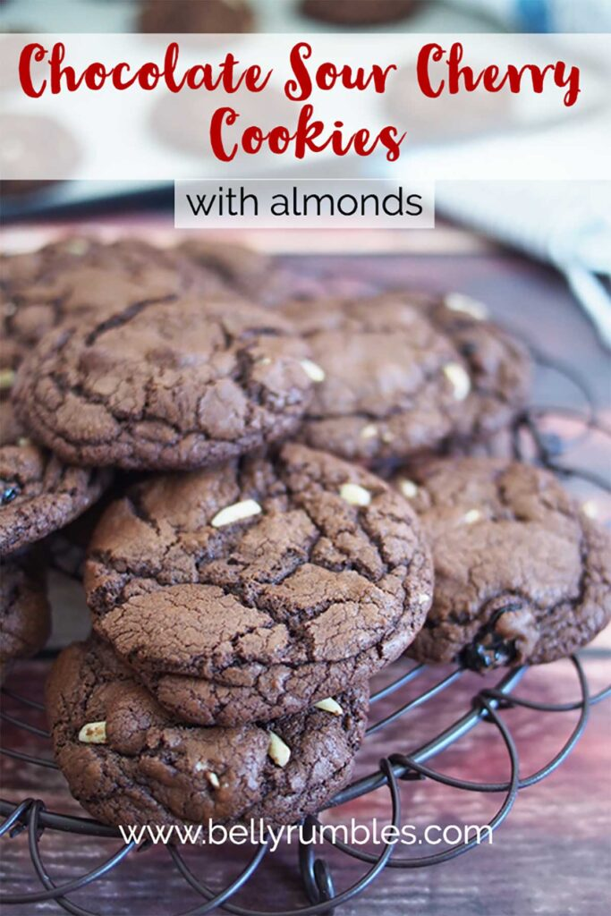 a pile of chocolate cookies on a serving rack