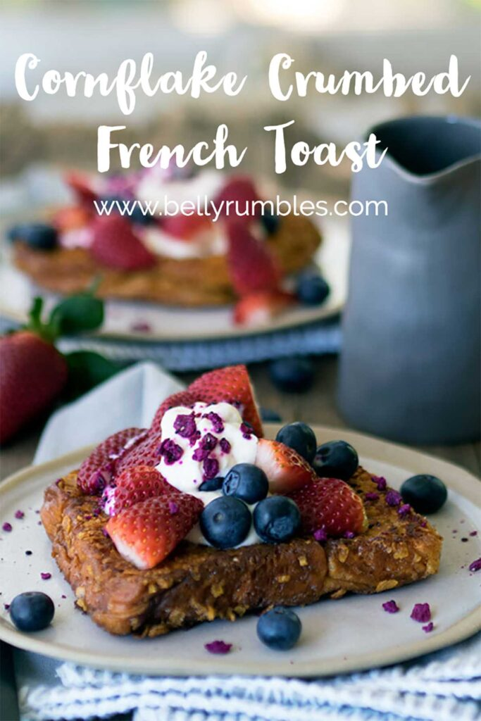 pinterest pin for cornflake crumbed french toast