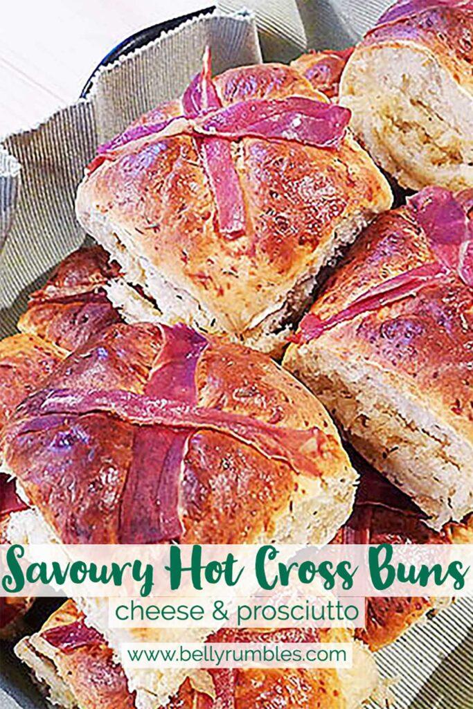 pinterest pin for savoury hot cross buns