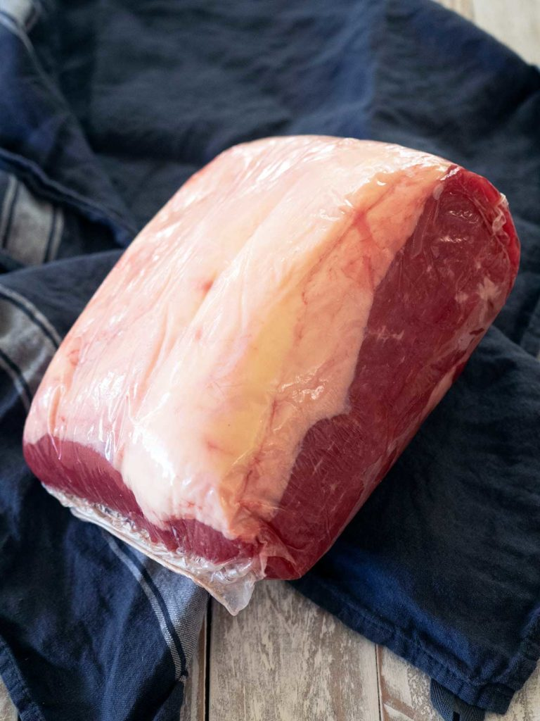 a piece of corned silverside still vacuum sealed from the butcher