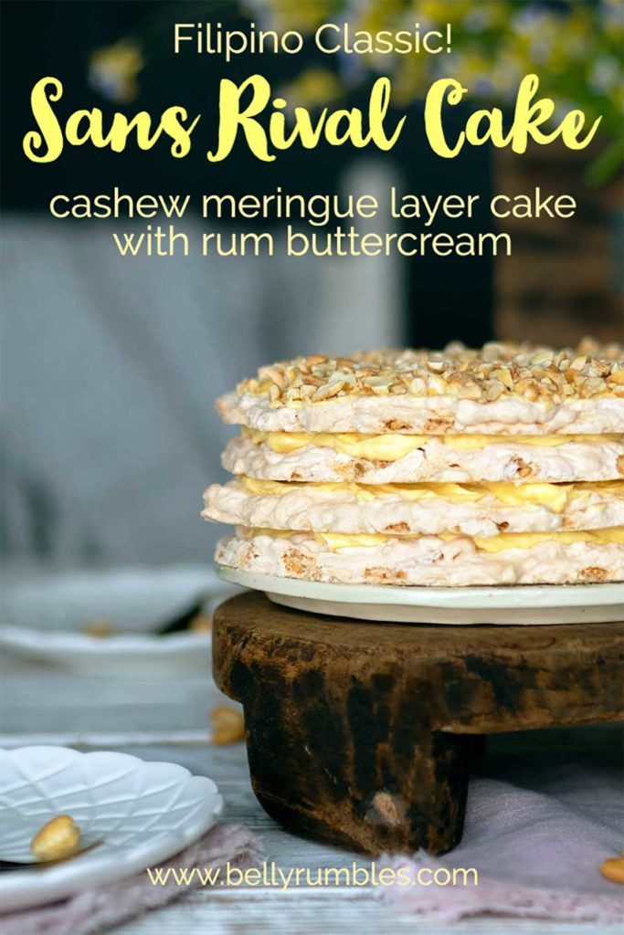 sans rival cake with text for pinterest pin