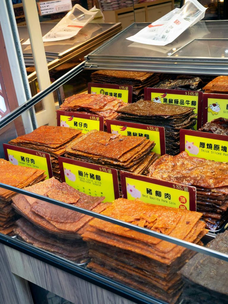 various flavours of bak kwa on display at a shop in macao