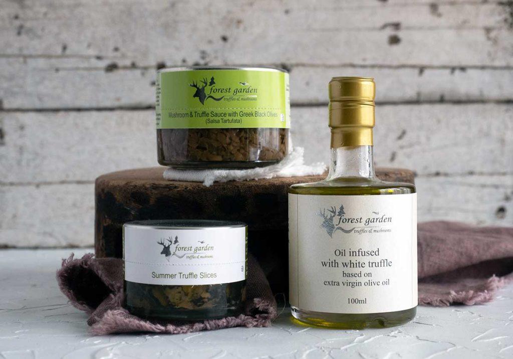 jars of salsa tartufata, truffle carpaccio and a bottle of white truffle oil