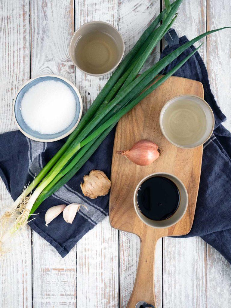 ingredients for chashu braising liquid