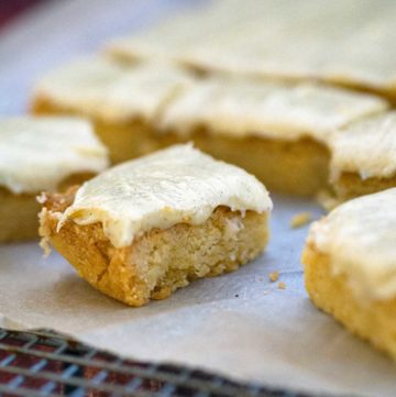 several slices of vanilla slice on top of parchment paper
