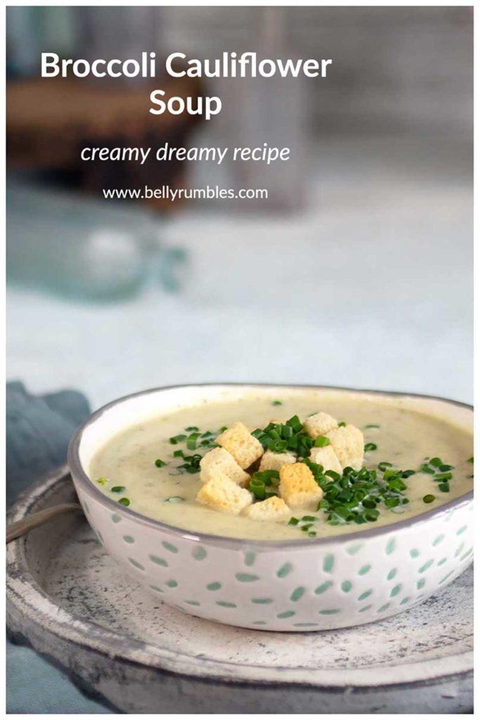 broccoli cauliflower soup pinterest pin
