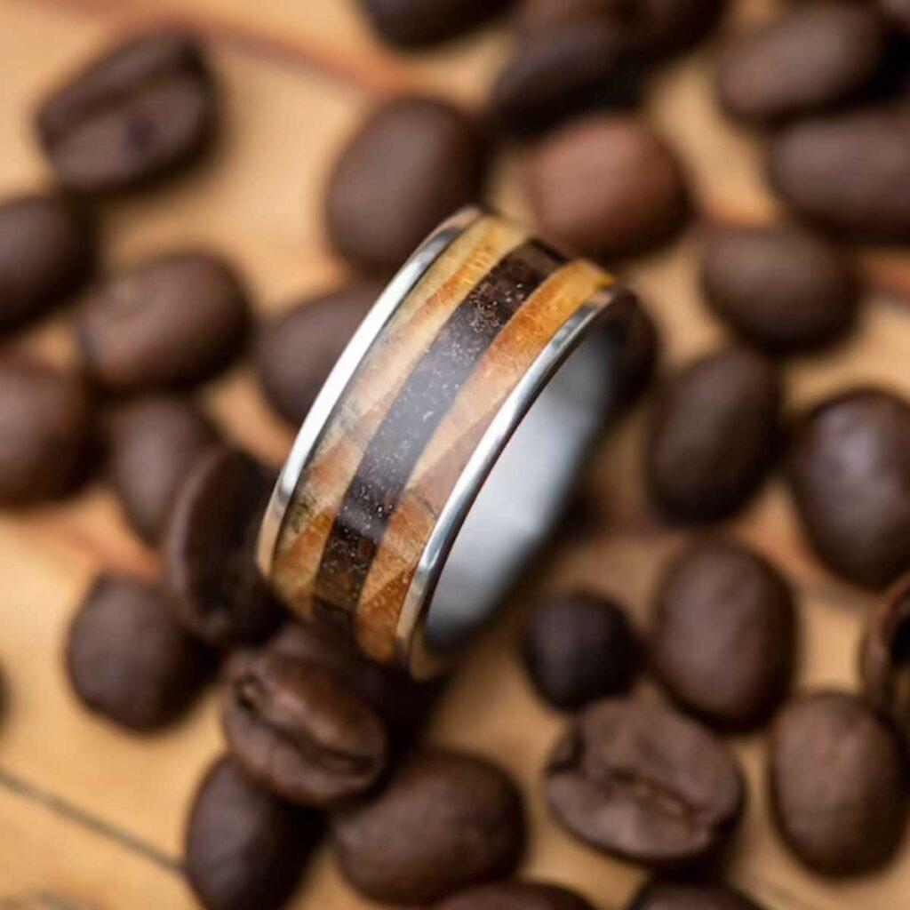 mans ring coffee bean inlay