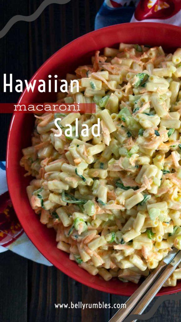 pinterest pin for hawaiian macaroni salad recipe