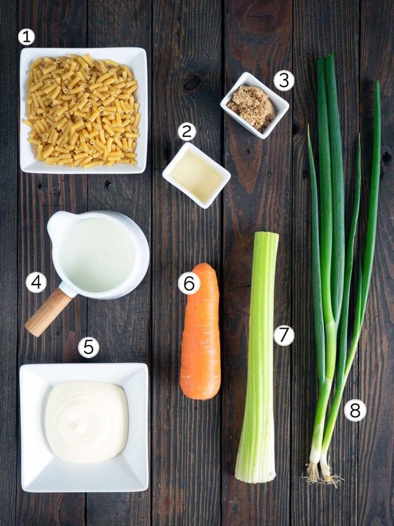 ingredients for hawaiian macaroni salad