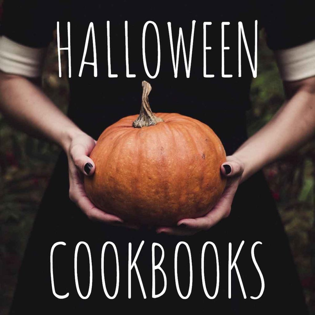 girl hold pumpkin with the words halloween cookbooks